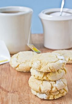 Gluten-Free Lemon Crinkle Cookies Stack: These look super good. Need to try 'em!