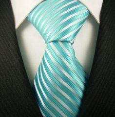 Neckties By Scott Allan, 100% Woven Turquoise & Silver Tie $14.99