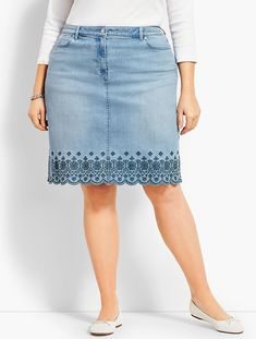 You'll be a standout in our Denim Skirt - Reid Wash - only at Talbots! Black Pencil Skirt Outfit, Midi Skirt Outfit, Denim Skirt Outfits, Denim Outfit, Hot Fall Outfits, Stretch Denim Skirt, Denim And Lace, How To Make Clothes, Casual Skirts