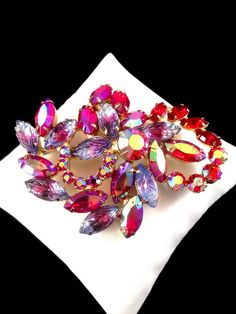 VERIFIED JULIANA D&E RED PINK GIVRE NAVETTE AB CHATON MOLDED RHINESTONE BROOCH #JULIANA