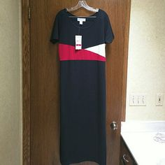 """NWT Norton Studio Maxi dress Lovely short sleeve maxi in  black cotton/poly/spandex knit and red and white bodice in front.  Perfect for summer.  Back length is about 50"""".  One side slit is 15"""" for ease of walking. Norton Studio Dresses Maxi"""