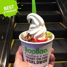 """@llaollaosg's photo: """"Congrats @bimsibolang! Getting high (literally) with llaollao  Grab a cup to chase away those Monday Blues folks, have a great week ahead  #bestof #weekend #llaollaosg #llaoMoment #froyo #premium #yogurt #foodstagram #instafoodsg #igfood #sgfood #sgfoodies #whati8today"""""""