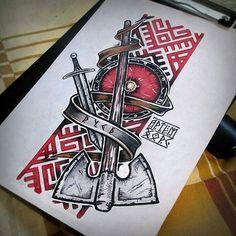 Fenrir - Ragnarok Is Coming Batte axe tattoo<br> Celtic Tattoos, New Tattoos, Body Art Tattoos, Sleeve Tattoos, Tattoos For Guys, Cool Tattoos, Tattoo Sleeve Themes, Viking Tattoo Sleeve, Viking Tattoo Symbol