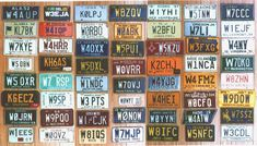 luv this pic! obessed with collecting colorful old licenses plates. trying to fill a wall going down stairway.