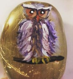 #901rocks #rockpainting #owl #gold #rock #owls