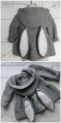 Floppy Bunny Ears Crochet Pattern With Video Tutorial - Diy Project - - # . Floppy Bunny Ears Crochet Pattern with Video Tutorial - Diy Project - - # Crochet Finsbury Park Sweater Knitting pattern by . Bunny Crochet, Crochet Girls, Crochet Baby Clothes, Cute Crochet, Crochet For Kids, Crochet Crafts, Crochet Ideas, Crotchet, Crochet Boots