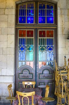 door of the old train station in the city of Damascus, Syria