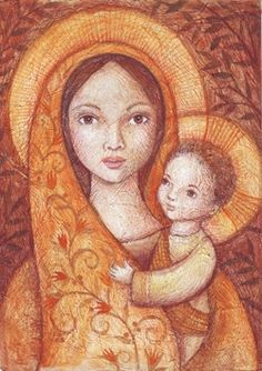 peggy aplSEEDS: Madonna and Child - this artist from the Philippines makes some beautiful images! Madonna Art, Madonna And Child, Blessed Mother Mary, Blessed Virgin Mary, Religious Icons, Religious Art, Madona, Images Of Mary, Queen Of Heaven