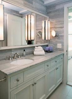 Love The Off Center Sink With Long Vanity And One Big Mirror