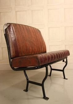 Vintage and Retro Miscellaneous Furniture, English Leather Bus Seat. Car Part Furniture, Automotive Furniture, Retro Furniture, Banquettes, Skateboard Room, Car Sofa, Car Upholstery, Bar Seating, Restaurant Furniture