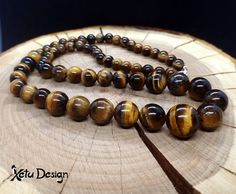 Tiger eye balls bead necklace by XetuDesign on Etsy Necklace Lengths, Beaded Necklace, Necklaces, Handmade Shop, Handmade Jewelry, Tigers Eye Gemstone, Color Mixing, Gemstone Jewelry, Balls