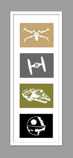 4 Star Wars Ship Silhouettes for Nursery/Boys Nursery/Millenium Falcon/DeathStar/Tie Fighter -  Set of 4  - 5x7s