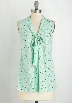 South Florida Spree Top in Mint Dots. Take your wardrobe on a vivacious Miami vacation with this mint green top! #mint #modcloth