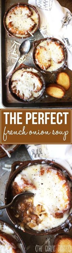 The Perfect French Onion Soup (My Fav) - Caramelized onions, beef broth, toasted bread, and melty gruyere cheese come together to form the most comforting, delicious bowl of French Onion Soup you will ever eat! -- TheGarlicDiaries.com