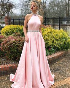 Open Back Prom Dresses, Long Prom Dresses, Cute Prom Dresses, Pink Prom Dresses, 2018 Prom Dresses Prom Dresses Long Pink, Open Back Prom Dresses, Long Prom Gowns, A Line Prom Dresses, Satin Dresses, Homecoming Dresses, Party Dresses, Dress Prom, Gown Dress