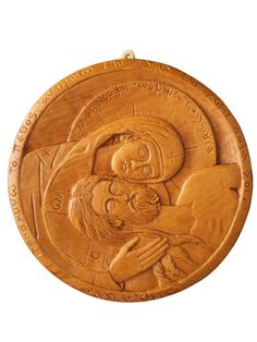 """Apokathilosis   The Greek-Orthodox equivalent of the Italian """"Pieta"""". Following the descent from the cross a sorrowful, grieving Virgin Mary holds the body of Jesus  Diameter: 11cm / 4.33 inches"""