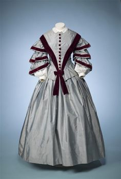 Ephemeral Elegance  Velvet Trimmed Day Dress, ca. 1850-55  via Europeana Fashion