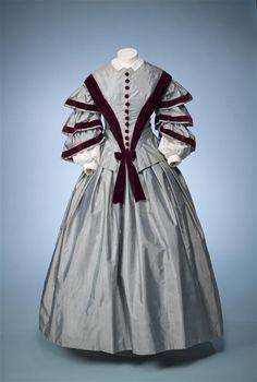 Ephemeral Elegance  Velvet Trimmed Day Dress, ca. 1850-55  via Europeana Fashion