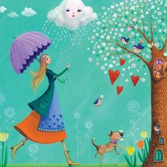 <3lady with umbrella, doggy, hearts