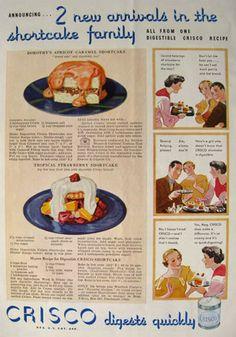 1934 Crisco Shortening Ad ~ Two Shortcake Recipes