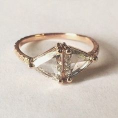 Double Kira engagement ring in rose gold with salt and pepper diamonds by Digby and Iona. Dream ring!
