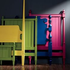 Paint vintage old headboards in bright fun colors! Drab to Fab!