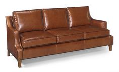 Brown leather sofa with contrasting welt from Wellington's Leather Furniture