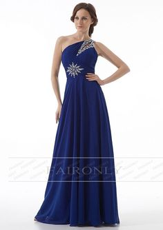 Faironly Sexy One Shoulder Chiffon Crystal Evening Dress Bridesmaid Gown