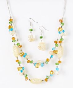 Look at this #zulilyfind! Yellow Carousel Stone Necklace & Earrings by LOLO by New Dimensions #zulilyfinds