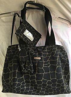 Baggallini-Shoulder-Bag-Tote-Purse-Diaper-Brown-Giraffe-Print-Roomy-Travel-NWOT