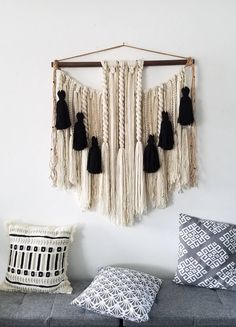 Large macramé wall hanging/ large woven wall hanging /Yarn wall hanging/yarn tapestry/Tassel wall hanging/black and white/weaving Macrame Wall Hanging Diy, Tapestry Wall Hanging, Wall Hangings, Hanging Beds, Hanging Chairs, Yarn Wall Art, Etsy, Yarn Crafts, Diy Crafts