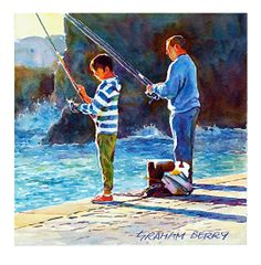 """Early morning fishing by Graham Berry Watercolor ~ 10"""" x 10"""""""