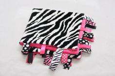 Baby Tag Ribbon Blanket - Minky Binky Blankie - Hot Pink Zebra. $17.99, via Etsy.