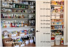 Approximate heights of shelves needed for various items