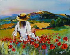 ~ Christian Jequel Art, Into the fields and poppies . Landscape Art, Landscape Paintings, Scenery Paintings, Watercolor Projects, Watercolor Paintings, Abstract Paintings, Painting & Drawing, Image Painting, Art Drawings