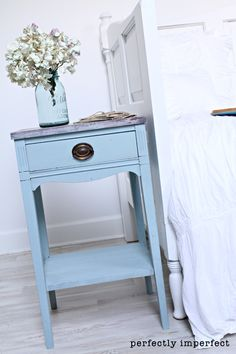You can use chalk paint on any surface.  It adheres to almost anything, and I've painted laminate, particle board, solid wood, leather, old and new furniture alike.  It's held up beautifully                      3 parts old white, 1 part aubusson blue/lime washed top/clear wax              .  I will tell you this…and please see the waxing video at the end…