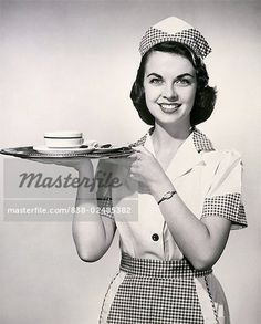 Portrait of a waitress holding a tray with a cup and saucer Canvas Art - x Vintage Diner, Retro Cafe, Retro Diner, 1950s Diner, 1960s, French Maid Uniform, Pose Reference Photo, Pin Up Outfits, 1950s Fashion
