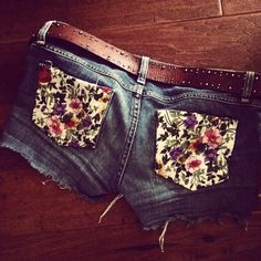 cute shorts with flower pockets