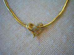 "Avon jewelry/16"" gold tone chain with heart slide/Gold tone heart slide with rhinestones/Vintage jewelry/Romantic jewelry"