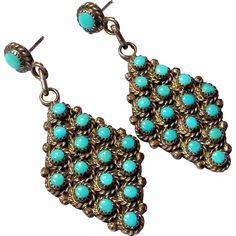 Rare! Bernal Natewa Zuni sterling silver turquoise dangle drop earrings Stunning