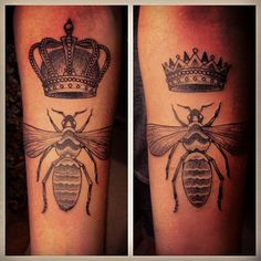 i love this, I've always wanted a bee tattoo and the crowns of course! genious!!