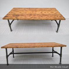 Couchtisch in Kiefer massiv modern Vintage Tisch von MonMeubleIndus