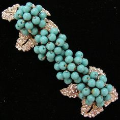 Miriam Haskell Turquoise Bead Brooch Rhinestone Pin by JoolsGalore