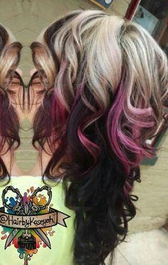 Blonde black pink dyed hair