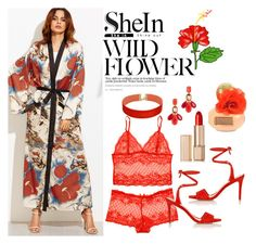 """"""".shein.com/Multicolor-Flower-Print-Contrast-Trim-Belted-Maxi-Kimono"""" by susan-993 ❤ liked on Polyvore featuring Loeffler Randall, Vanessa Mooney, Kate Spade and Estée Lauder"""