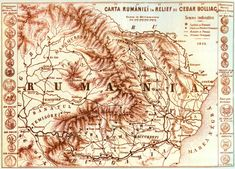 A map of hypothetical Rumânii (Romania), dated made by Caesar Bolliac History Of Romania, Romanian Revolution, Moise, History Page, Old Maps, Serbian, Vintage World Maps, Old Things, Drawings