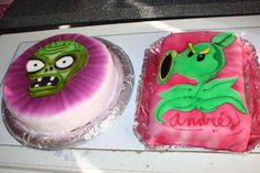 Improving our Plants vs Zombies cakes decorated with airbrush. Mejoramos nuestros pasteles decorados con aerógrafo de Plantas contra Zombies.