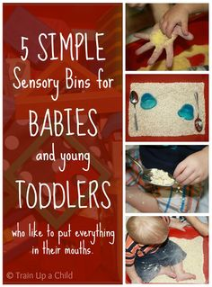 5 Simple Sensory Bins for Babies and Toddlers who still put everything in their mouths. Bins contain common household items, so no need to go shopping for more supplies! Baby Sensory Play, Sensory Bins, Sensory Activities, Baby Play, Infant Activities, Activities For Kids, Crafts For Kids, Sensory Boards, Sensory Table