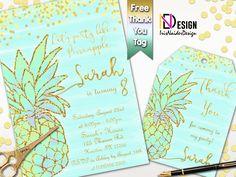 Pineapple Invitation FREE thank you tag, Aloha Invitation,Hawaiian Birthday invitation, Pineapple Birthday Invitation,Pineapple party invite by IrisNaiderDesign on Etsy Hawaiian Birthday, Aqua, Teal, I Party, Party Ideas, Thank You Tags, Personalized Invitations, Birthday Invitations, Invite