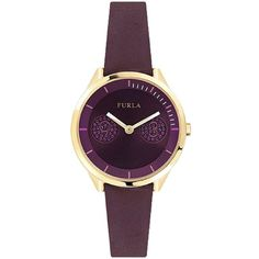 Furla Metropolis Purple Dial Calfskin Leather Watch (360 ILS) ❤ liked on Polyvore featuring jewelry, watches, round watches, water resistant watches, purple jewellery, quartz movement watches and furla watches